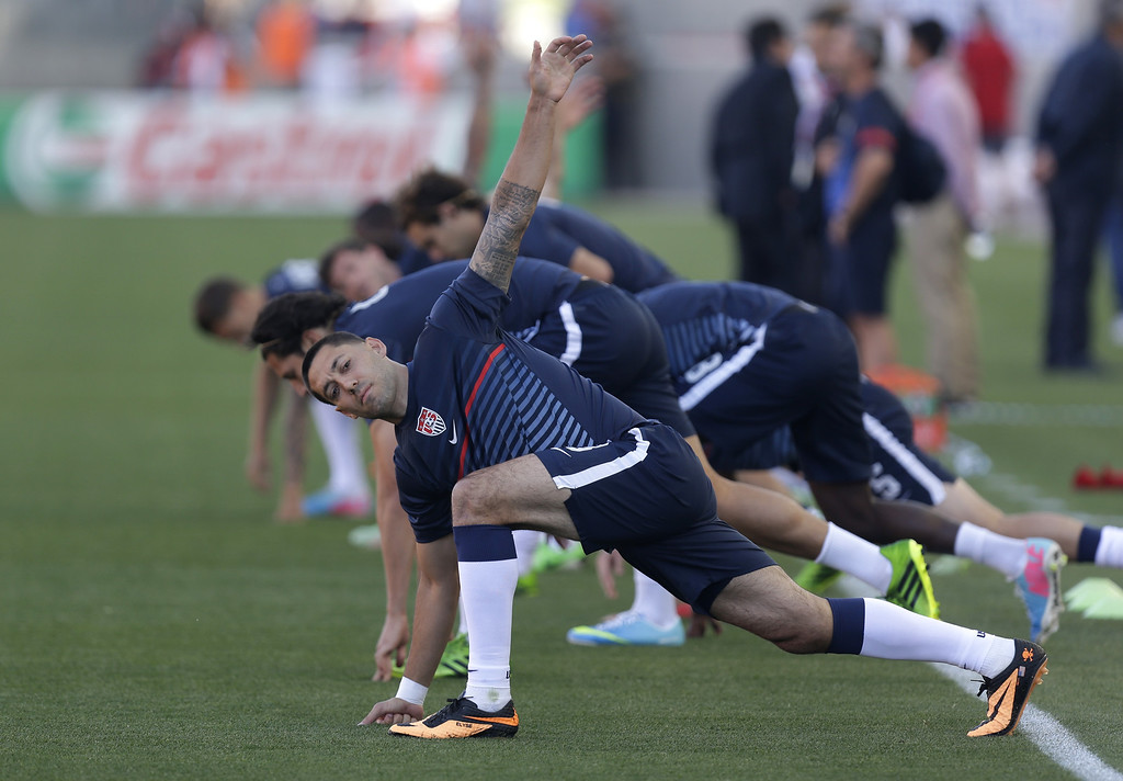 . United State\'s Clint Dempsey stretches before an World Cup qualifying soccer match against Honduras, at Rio Tinto Stadium on Tuesday, June 18, 2013, in Sandy, Utah.  (AP Photo/Rick Bowmer)