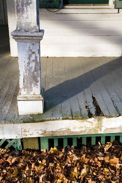 Detail of the porch of Ambler Farm in Wilton, CT, USA