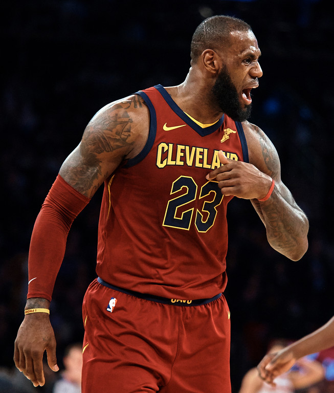 . Cleveland Cavaliers\' LeBron James complains to the referee during the first half of a NBA basketball game against New York Knicks at Madison Square Garden in New York, Monday, Nov. 13, 2017. (AP Photo/Andres Kudacki)