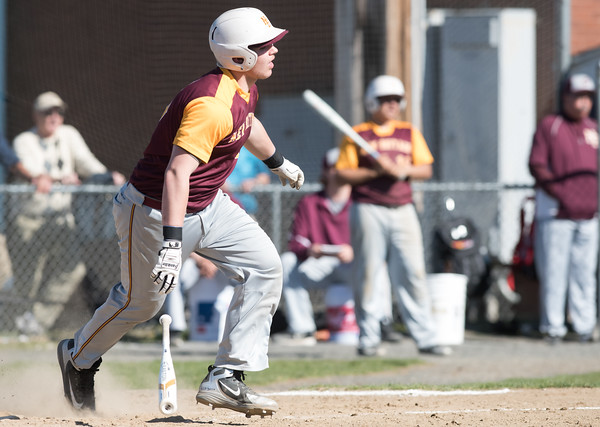 04/23/18 Wesley Bunnell | Staff New Britain baseball defeated Southington 9-8 in extra innings on Monday afternoon in a contest played at Southington High School. Michael Gajda (15)