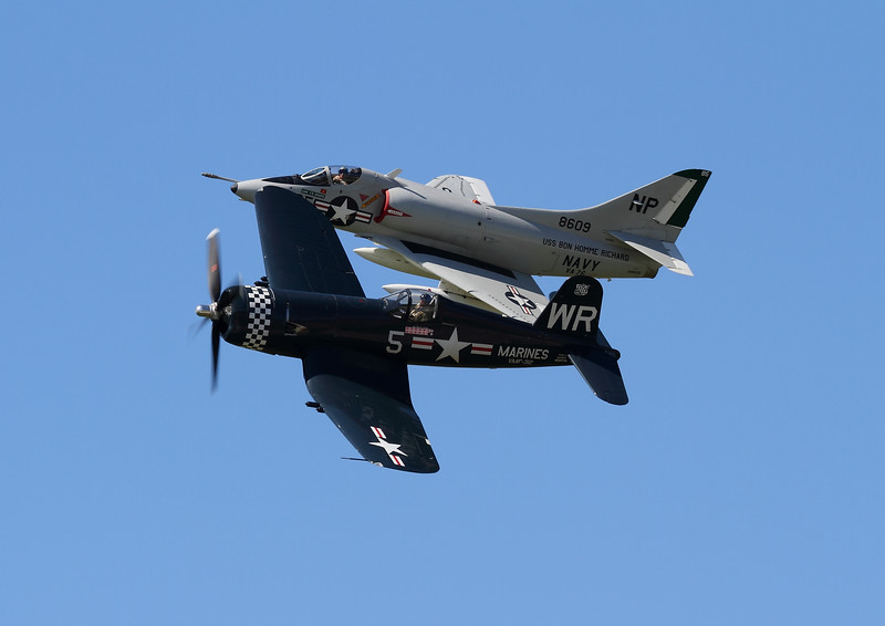 Warbird Heritage Foundation's A-4 Skyhawk and a F4U-5 Corsair perfroming the Legacy Flight
