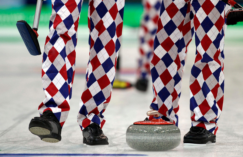 . Members of the Norway mens curling team wear colorful pants during a practice session at the Vancouver 2010 Olympics in Vancouver, British Columbia, Sunday, Feb. 14, 2010. (AP Photo/Robert F. Bukaty)