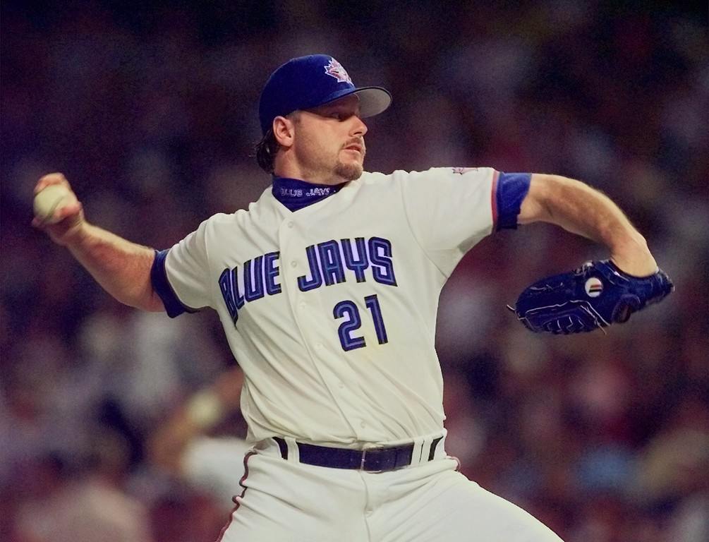 . Toronto Blue Jays pitcher Roger Clemens throws to the plate during the third inning of the 68th All-Star Game Tuesday, July 8, 1997 in Cleveland. (AP Photo/Beth Keiser)