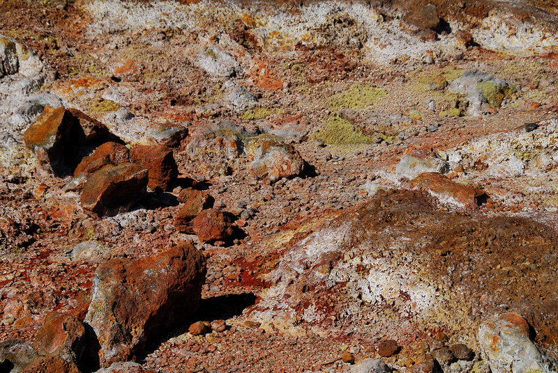 Mineral rich ground and rocks at the Sulfer Banks in Volcanoes National Park, Hawaii