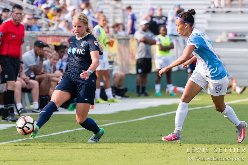 Makenzy Doniak (3) and Kristen Edmonds (12) during a match between the NC Courage and the Orlando Pride in Cary, NC in Week 3 of the 2017 NWSL season. Photo by Lewis Gettier.