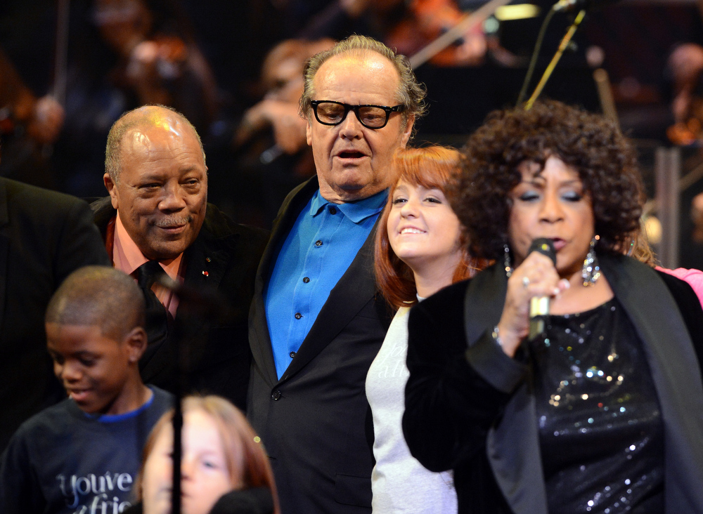 . Quincy Jones and actor Jack Nicholson attend a celebration of Carole King and her music to benefit Paul Newman\'s The Painted Turtle Camp at the Dolby Theatre on December 4, 2012 in Hollywood, California.  (Photo by Michael Buckner/Getty Images for The Painted Turtle Camp)
