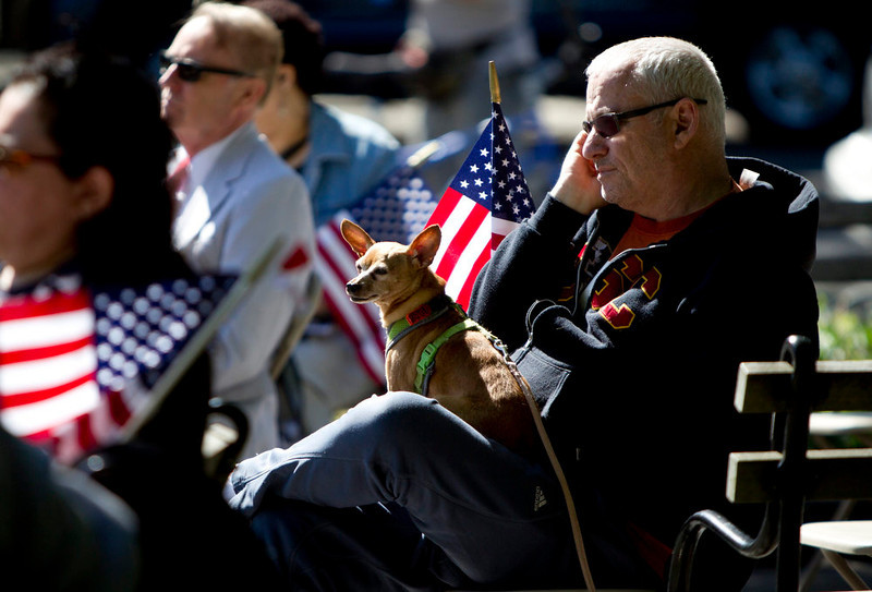 . A man waits with a dog on his lap at the Soldiers and Sailors Monument before the beginning of a Memorial Day service on the Upper West Side of New York, May 27, 2013.    REUTERS/Carlo Allegri
