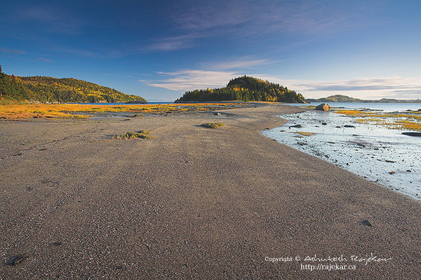 Low tide pathway to Ile-aux-Amours in Parc National du Bic