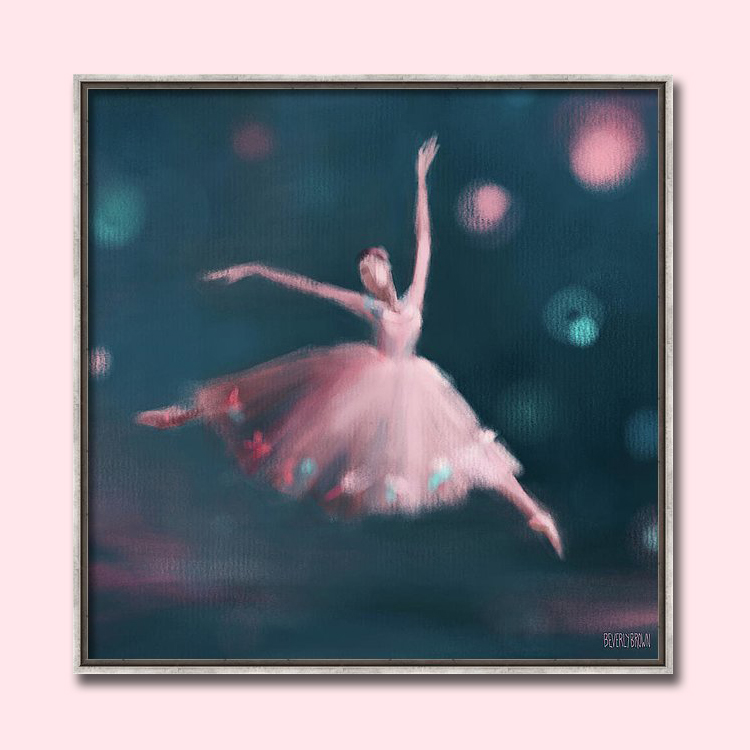 Peacock Blue and Pink Ballet Dancer Painting Framed Wall Art by Beverly Brown