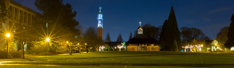 Quad at Night (Christmas Banners)