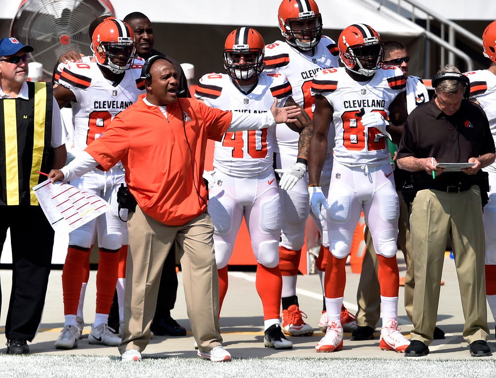 . Cleveland Browns head coach Hue Jackson reacts during the first half of an NFL football game against the Pittsburgh Steelers, Sunday, Sept. 10, 2017, in Cleveland. (AP Photo/David Richard)