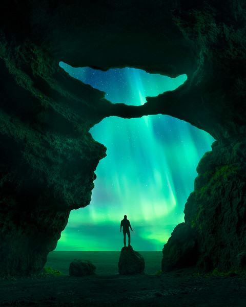 Hjörleifshöfði cave Iceland Landscape Photography composite aurora.jpg