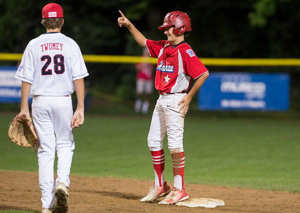 08/08/19 Wesley Bunnell | Staff New York defeated Washington, DC 15-4 on Thursday August 8, 2019 in a Mid Atlantic Region tournament game. Nick Becker (22) motions back to his dugout after a double.