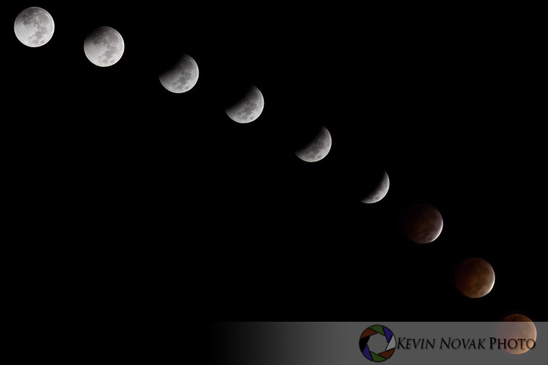Total Lunar Eclipse, 10-8-14. ©2014 Kevin Novak. (Composite Image).