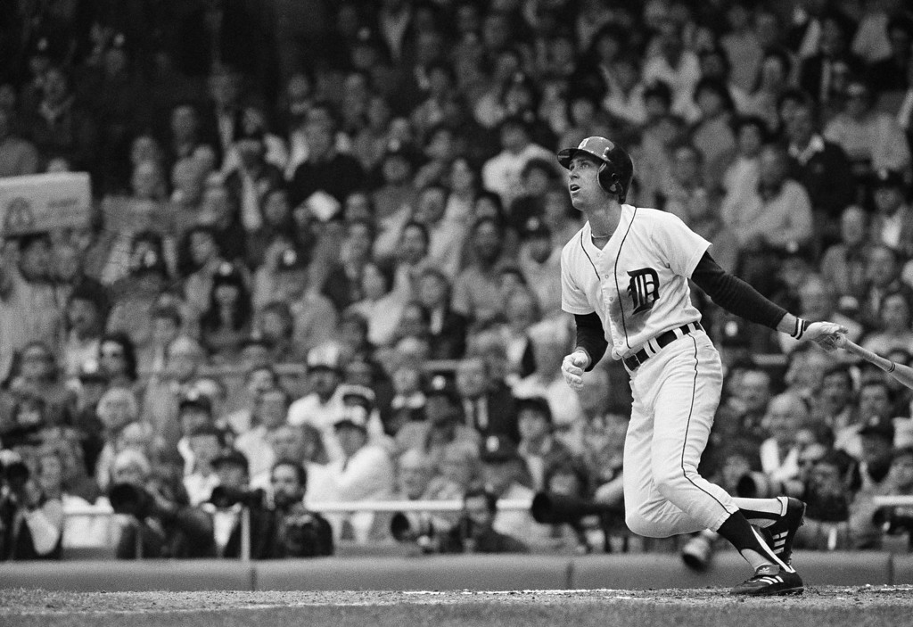 . Alan Trammell puts Detroit Tigers on the scoreboard with a two-run homer in the first inning of World Series game four against San Diego Padres at Tiger Stadium Saturday, Oct. 13, 1984 in Detroit. (AP Photo/Rusty Kennedy)