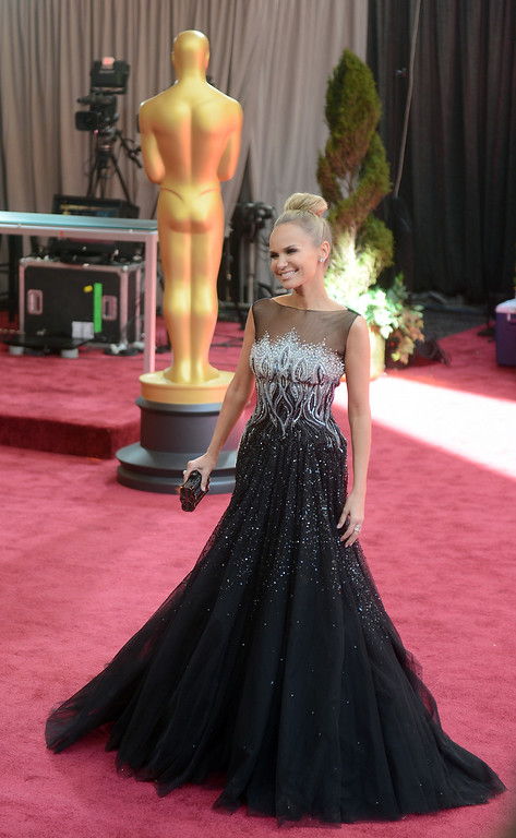 . Actress Kristin Chenoweth arrives at the 85th Academy Awards at the Dolby Theatre in Los Angeles, California on Sunday Feb. 24, 2013 ( Hans Gutknecht, staff photographer)