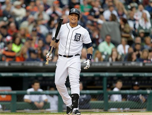 . Detroit Tigers\' Miguel Cabrera reacts to a pitch against the Minnesota Twins in the first inning of a baseball game in Detroit, Friday, June 13, 2014.  (AP Photo/Paul Sancya)