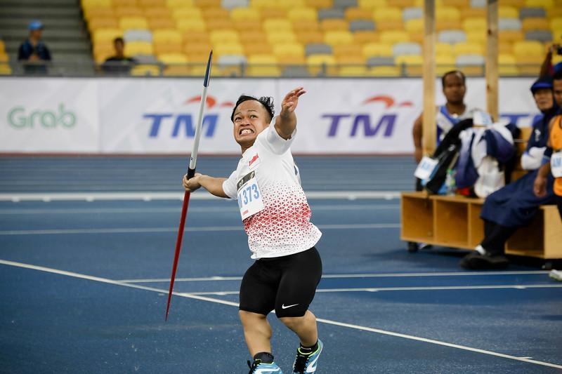 PARA ATHLETICS - MUHAMMAD DIROY BIN NORDIN in action & representing Singapore in Men Javelin Throw (600G) - F40/41 at Bukit Jalil National Stadium, KL on September 19th, 2017 (Photo by Sanketa Anand)