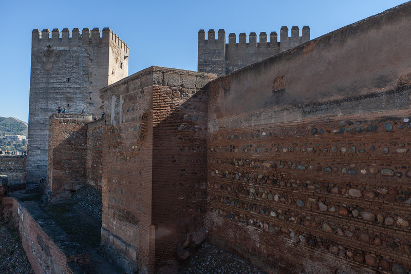 Outside walls of the Alcazaba fort/citadel at the Alhambra in Granada, Spain.