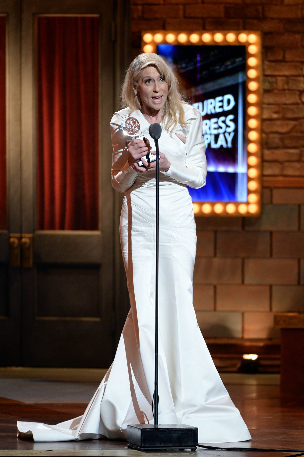 ". Actress Judith Light accepts the award for Best Performance by an Actress in a Featured Role in a Play for ""The Assembled Parties\"" at The 67th Annual Tony Awards at Radio City Music Hall on June 9, 2013 in New York City.  (Photo by Andrew H. Walker/Getty Images for Tony Awards Productions)"