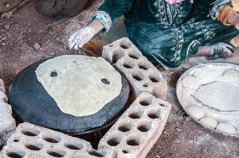 Woman preparing traditional dish in Feynan, Arabah, Jordan