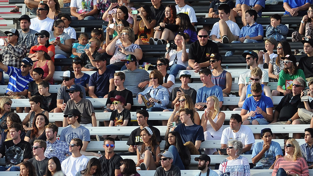 . Fans watch from the grandstands during the GoPro BMX Big Air Final at Irwindale Speedway on Friday, Aug. 2, 2013 in Irwindale, Calif. Morgan Wade won the gold medal.  (Keith Birmingham/Pasadena Star-News)