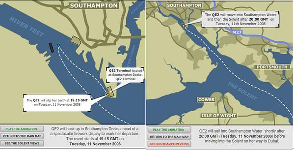 QE2 11/11/08 Last exit Southampton & on to Dubai