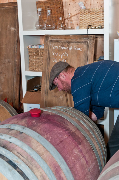 This is John sucking the port out of the barrells and filling the beakers with each of the components.