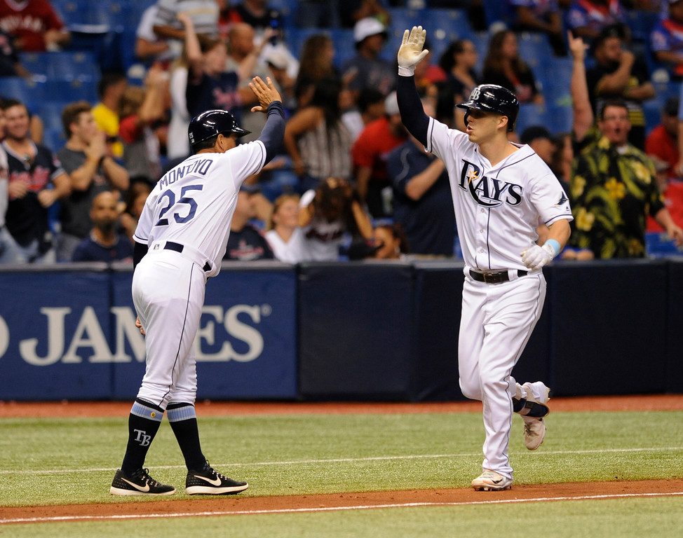 . Tampa Bay Rays third base coach Charlie Montoyo congratulates Corey Dickerson, right, after his three-run home run off Cleveland Indians reliever Nick Goody during the eighth inning of a baseball game Thursday, Aug. 10, 2017, in St. Petersburg, Fla. The Rays won 4-1. (AP Photo/Steve Nesius)