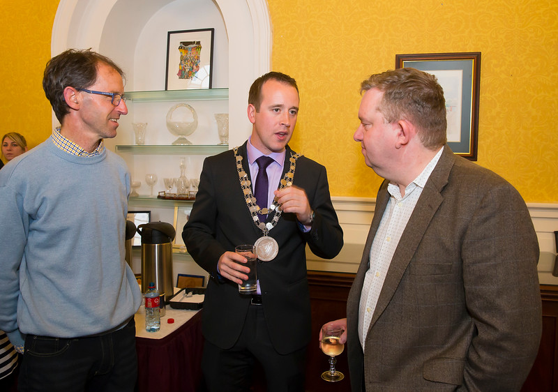18/05/2016. Irish Accounting & Finance Accociation Annual Conference at WIT (Waterford Institute of Technology). Pictured at The Mayor's reception are Sean Byrne, Mayor Cllr. John Cummins and Joe Coughlin. Picture: Patrick Browne