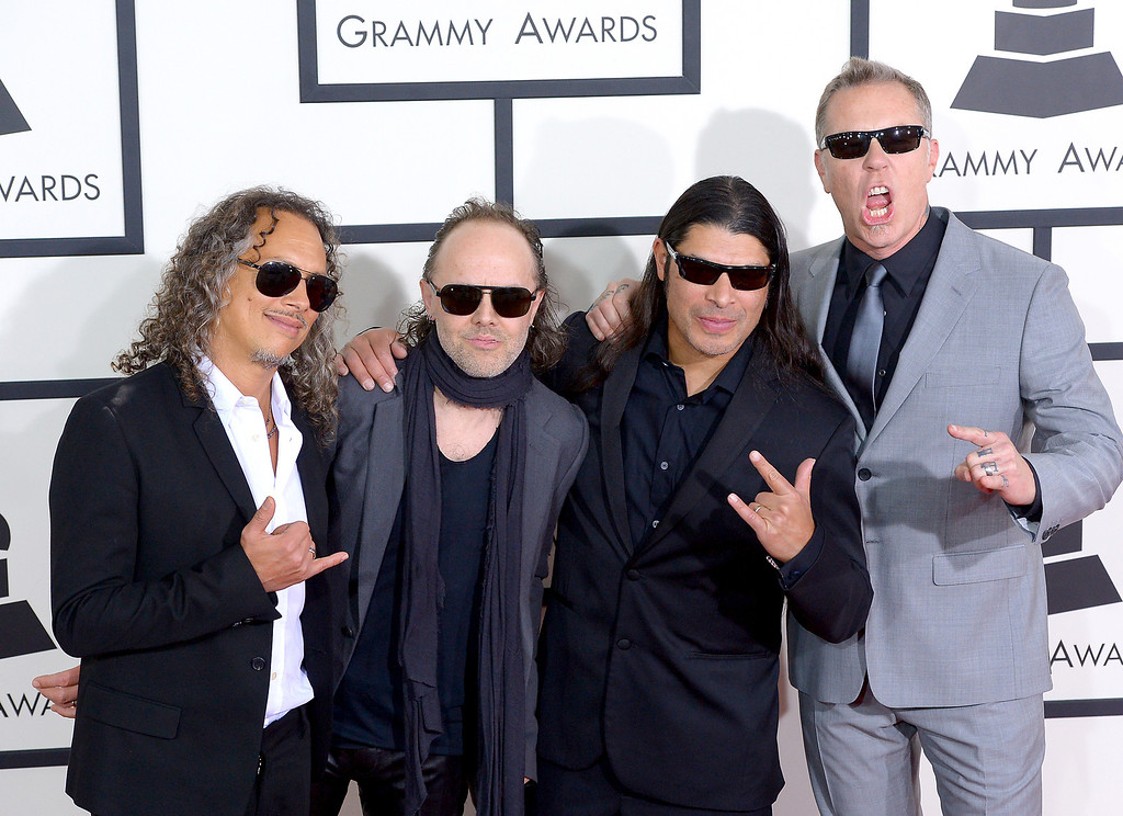 . Kirk Hammett, Lars Ulrich, Robert Trujillo and James Hetfield of Metallica arrive at the 56th Annual GRAMMY Awards at Staples Center in Los Angeles, California on Sunday January 26, 2014 (Photo by David Crane / Los Angeles Daily News)