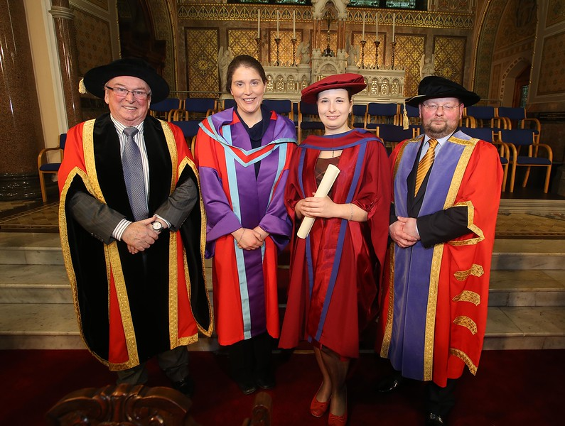 Pictured is Magdalena Necpalova of Slovakia and Piltown, Kilkenny who was conferred a Doctor of Philosophy, also pictured is Dr Donie Ormonde, WIT Chairman, Imelda Casey supervisor and Dr. Derek O'Byrne, Registrar of WIT. Picture: Patrick Browne.