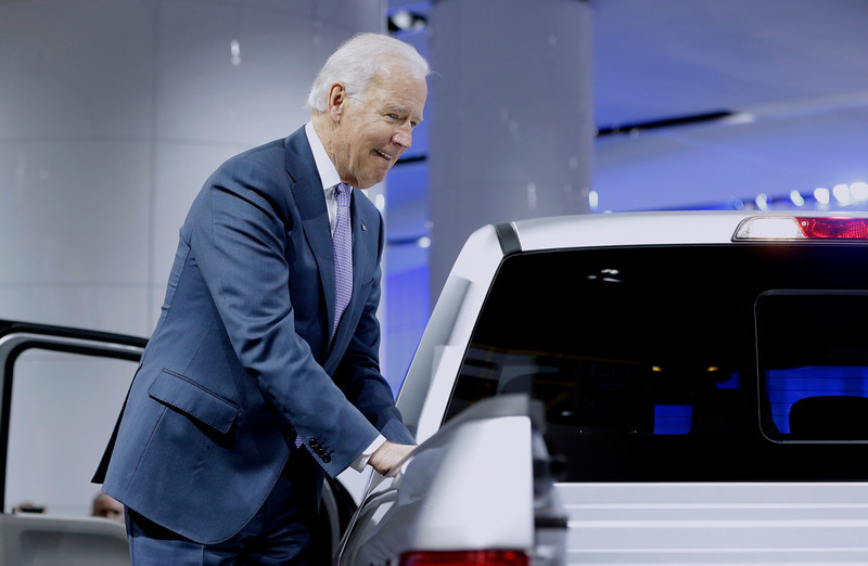 . Vice President Joe Biden looks over a Ford F-150 truck during a tour of the North American International Auto in Detroit, Thursday, Jan. 16, 2014. Biden said the U.S. auto industry\'s resurgence since the 2009 federal bailout provides a strong basis for a Motor City recovery.  (AP Photo/Carlos Osorio)