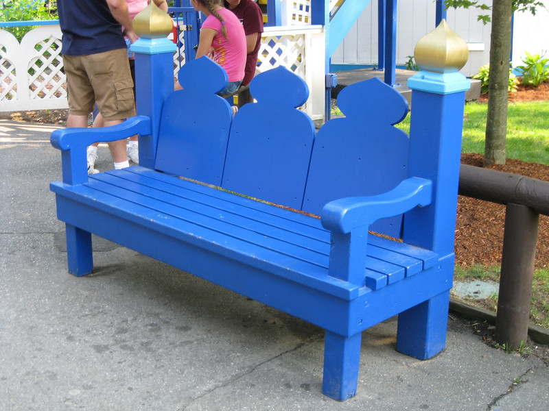 Themed bench in front of Turkish Twist.