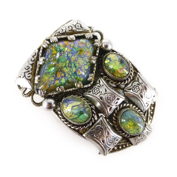 Antique Art Deco Czech Green Dragons Breath Opalescent Foil Glass Dress Clip