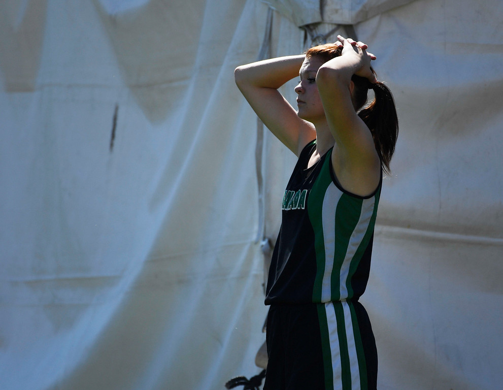 . Kylee Holden, Granada, takes a moment to reflect after taking second in the girls 1A 100 meter hurdles final at the Colorado Track and Field State Championships at Jeffco Stadium May 21, 2016. (Photo by Andy Cross/The Denver Post)