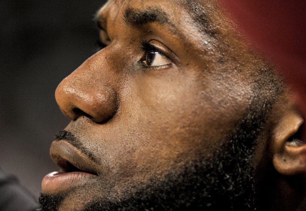 . Cleveland Cavaliers forward LeBron James warms up before an NBA basketball game against the Memphis Grizzlies Friday, Feb. 23, 2018, in Memphis, Tenn. (AP Photo/Brandon Dill)