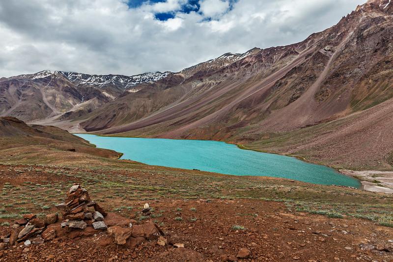 Chandra Tal (Chandra Taal)lake. Spiti Valley, Himachal Pradesh, India