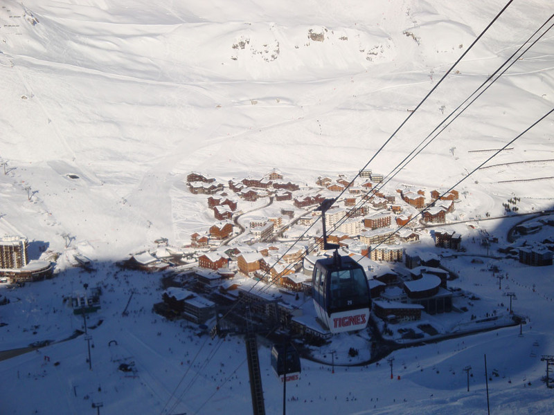 We skied between a series of alpine villages, such as Tignes here at 2,100 m.