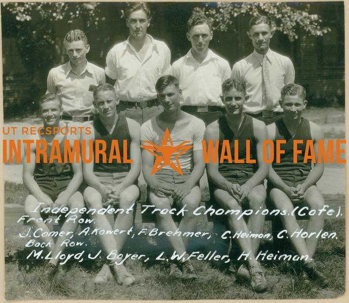 TRACK  Independent Champions  Cafeteria  R1: J. Comer, A. Jowert, F. Brehmer, C. Heimon, C. Horlen R2: M. Lloyd, J. Boyer, L. W. Feller, H. Heiman