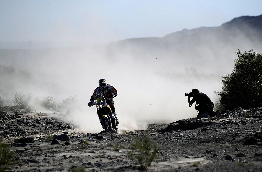 . Spains\' Marc Coma rides his KTM during the 2014 Dakar Rally Stage 2 between San Luis and San Rafael, Argentina, on January 6, 2014.  FRANCK FIFE/AFP/Getty Images