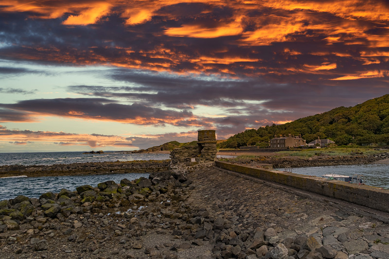 Dunure Seadefences in Burns Country Late Afternoon as the sun was going down.