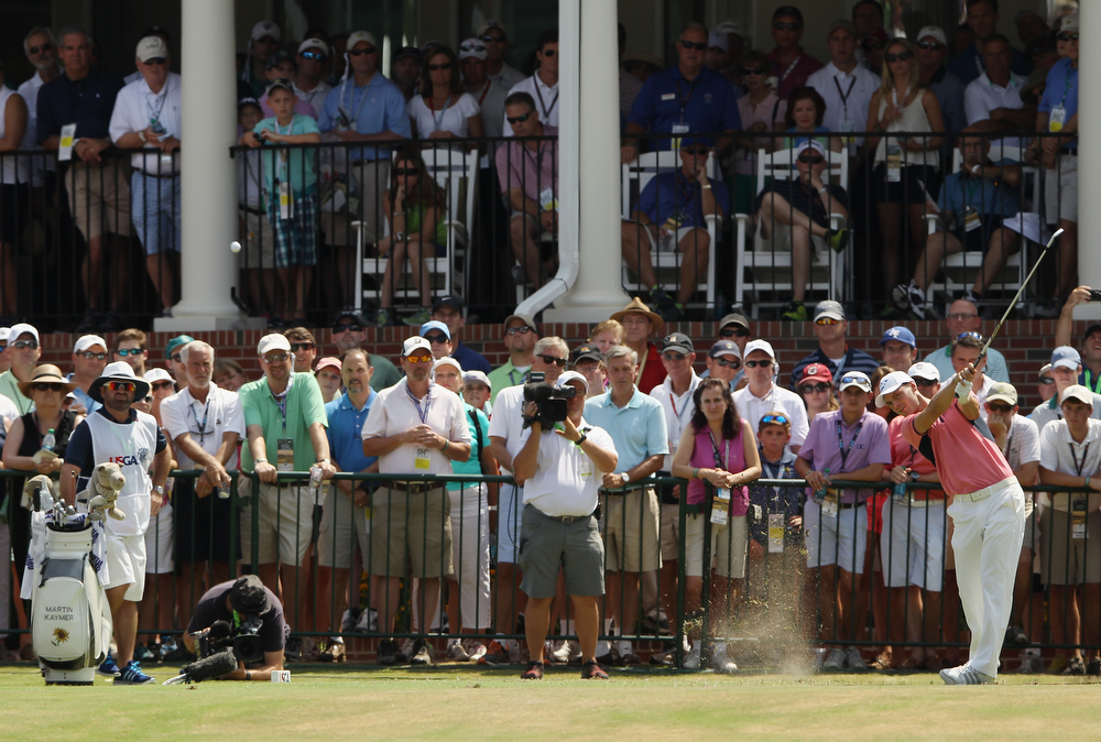 . Martin Kaymer of Germany hits his tee shot on the first hole during the third round of the 114th U.S. Open at Pinehurst Resort & Country Club, Course No. 2 on June 14, 2014 in Pinehurst, North Carolina.  (Photo by Tyler Lecka/Getty Images)