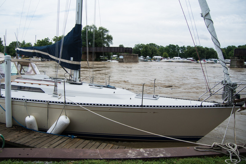 A few slips down from the Simpson's, this boat was damaged