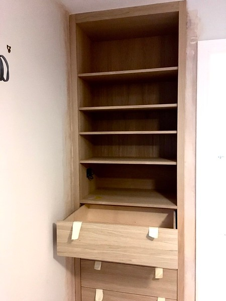 Oak veneered MDF bedroom unit, adjustable shelves in upper section, will full extension birch drawer boxes. Waiting on handles and finish to be applied.