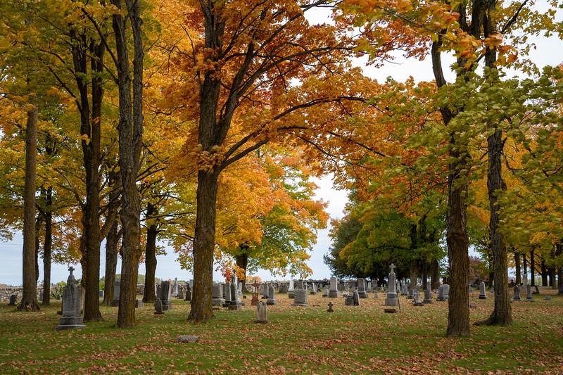 Michigan cemetery in fall