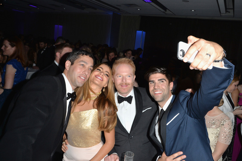. (L-R) Nick Loeb, Sofía Vergara, Jesse Tyler Ferguson and Justin Mikita attend the Yahoo News/ABCNews Pre-White House Correspondents\' dinner reception pre-party at Washington Hilton on May 3, 2014 in Washington, DC.  (Photo by Andrew H. Walker/Getty Images for Yahoo News)