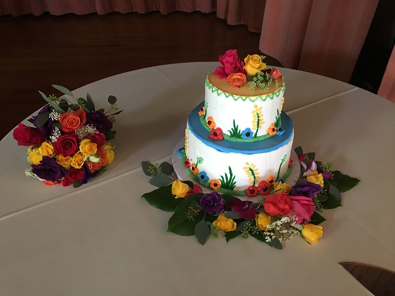 Mexican fiesta cake $25 --toss bouquet $35