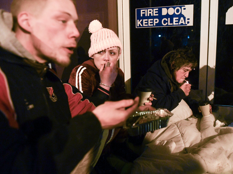 Swansea 8th January 2020 Homeless of the streets of Swansea being fed by volunteers.