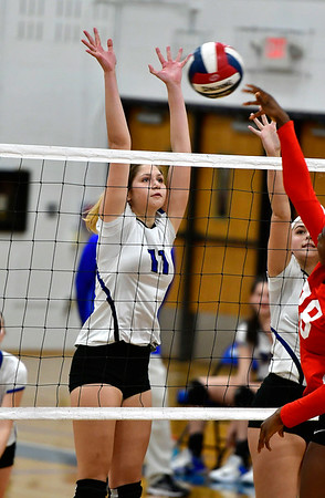 11/10/2018 Mike Orazzi   Staff Southington High School's Veronika Gorski (11) during the Class LL Quarterfinal Girls Volleyball Tournament in Southington Saturday.